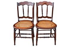 Walnut Chairs w/ Caned Seats, Pair on OneKingsLane.com   $455.00 the pair on 8/31/13