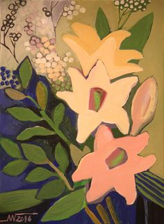 Marina Gorkaeva. Flowers.  Painting: Acrylic and Tempera on Paper.   42.3 H x 30 W x 0.1 cm.  2016