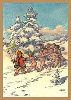 Marie Fischerová-Kvěchová: Ježíšek s andílky Czech Republic, Tween, Postcards, Images, Mario, Infant, Baby Boy, God, Drawing