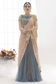 Peach and Grey Colour Net Fabric Party Wear Lehenga Saree Comes With Matching…