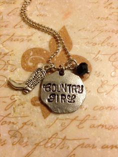 Country Girl Hand Stamped Charm Necklace by DuneyBugDesigns, $22.00