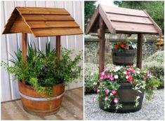 Wine Barrel Wishing Well Planters DIY Tire Wishing Well Planters, a unique way to recycle wine barrel for garden decoration #Recycle, #Gardening