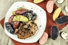 Rosemary Brown Sugar Pork Chops With Roasted Mushrooms and Heirloom Fingerling…