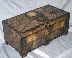 I could totally woodburn the trunk my dad made me years ago... Maybe with some flowers or something softer with webs :)