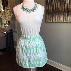 J Crew Mint and White Printed Skirt J Crew - size small - mint green and white abstract print - elastic waist band -  fully lined - 2 front side pockets - 100% cotton 15 inches long - excellent condition - top not available for purchase - 20% discount if necklace and skirt shown in cover photo are purchased together - reasonable offers welcomed - bundle discounts available J. Crew Skirts