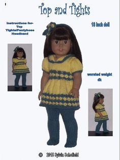 Dolls Clothes PDF knitting pattern for 18 to 19 inch dolls
