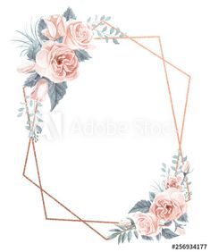 Watercolor Floral Geometric Frame - Buy this stock illustration and explore similar illustrations at Adobe Stock Flower Background Wallpaper, Flower Backgrounds, Frame Background, Free Watercolor Flowers, Floral Watercolor, Watercolor Leaves, Gold Wedding Invitations, Wedding Invitation Templates, Ticket Invitation