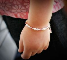 Sweet baby pearl and swarovski crystal bracelet by bitsofstella, $14.00
