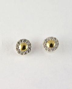Nokta Button Earrings in Sterling Silver layered 4K Gold by GURHAN