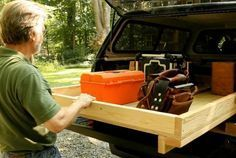 In this video, learn how to build your own sliding truck-bed box with stuff you probably have lying around in the shop. A few 2 sheets of plywood, and some small casters are all you need to maximize the usable space in your pickup bed. Truck Bed Box, Truck Bed Drawers, Truck Bed Slide, Truck Bed Storage, Camper Storage, Bed With Drawers, Tool Storage, Storage Ideas, Diy Drawers