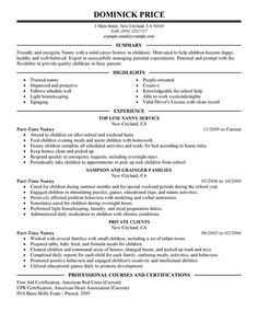 Example Resume Best Nanny Sample Amp Writing Tips Companion  Home