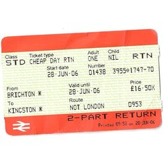 Travel and Transport train-ticket-return-RTN-portion-from-Brighton- ❤ liked on Polyvore featuring fillers, backgrounds, tickets, accessories, london, text, quotes, doodle, saying and scribble