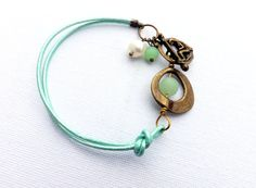Turquoise Leather  bracelet with Sea Glass and Brass by lyrisgems