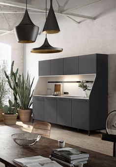 SieMatic 29 kitchen sideboard or buffet from the Urban style collection in graphite grey with sink and stovetop Kitchen Interior, Interior, Contemporary Kitchen, Kitchen Remodel Small, Home Decor, Kitchen Layout, Interior Design, Kitchen Style, Kitchen Design