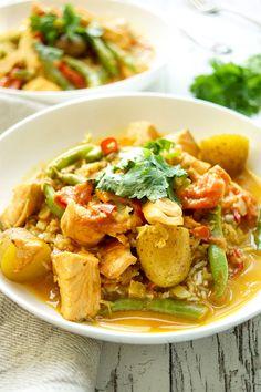 Lachs-Curry, Lachsfilet in Kokos-Curry mit grünen Bohnen und Kartoffeln Rezept