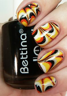 Watermarbled Halloween Nails - Cool Nail Designs