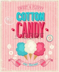 Vintage Cotton Candy Poster. Illustration