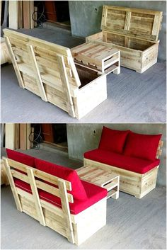 Let us start with an idea that doesn't only allow seating place that is comfortable, but the storage option as well. See the wood pallet made seats; they can be used for storing items by opening the seating area like the way they are shown here.