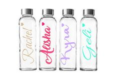 Personalized glass water bottles with stainless steel lid, Idaho Embroidery, custom water bottles, bride gifts, teacher gifts by IdahoEmbroidery on Etsy Custom Water Bottles, Glass Water Bottle, Boxed Water Is Better, Box Water, O Ring, Bride Gifts, Idaho, Tumblers, Bridesmaid Gifts