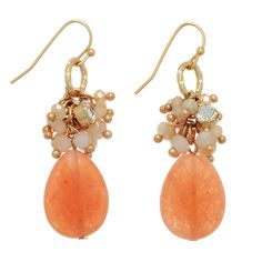 """$18.00 Gold tone fishhook earrings featuring a cluster of beige glass beads with a peach teardrop shaped natural stone. Approximately 1 3/8"""" in length"""