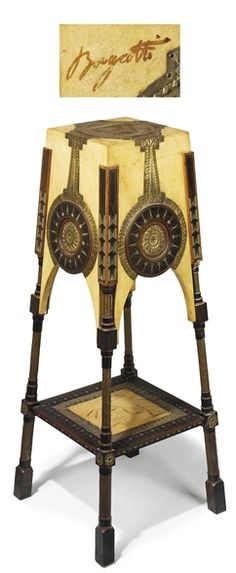 CARLO BUGATTI (1856-1940) SELLETTE, circa 1902, walnut, copper applications, pewter, mahogany and copper inlay, hand- painted vellum with detached tassels, 44 in. (112.8 cm.) high, hand-painted signature Bugatti   |  SOLD $19,350 Christie's London, Oct 28, 2008