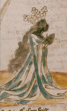 Hans Vintler  Solomon and the Queen of Sheba Worshiping an Idol (Detail)  Austria (1411)  Die Blumen der Tugend (215 fols.), fol. 6 sup r  Illumination on paper