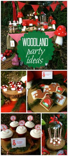 A woodland girl birthday party with apple toadstools, red velvet cupcakes, woodland cookies! See more party planning ideas at CatchMyParty.com!