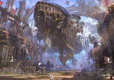 steampunk, magitek, airship, city