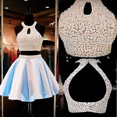 Dress 2015 Powder Blue Two Piece Homecoming Dresses High Halter Neckline Bodice With Beaded With White Pearls Satin Sweet 16 Gowns Keyhole Back Tight Short Homecoming Dresses From Nicedressonline, $184.29| Dhgate.Com