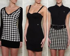 Fred Perry black houndstooth is a classic pattern for clothing or baby bedding