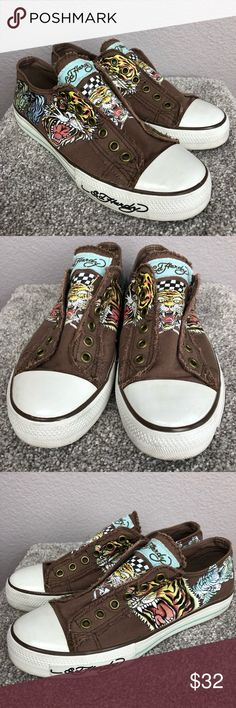 Ed Hardy Laceless Tiger Print Slip On Sneakers Fun tiger print sneakers from Ed Hardy. In excellent condition as seen in photos. These are laceless slip on shoes. Ed Hardy Shoes Sneakers