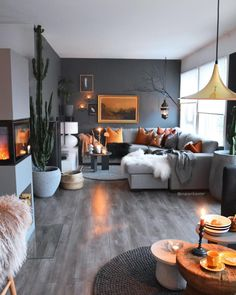 47 inspiring modern living room decor ideas 4 - 47 inspiring ideas for a . - 47 inspiring modern living room decor ideas 4 – 47 Inspiring ideas for a modern living room - Living Room Modern, Living Room Interior, Home Living Room, Apartment Living, Living Room Designs, Small Living, Dark Grey Walls Living Room, Grey And Orange Living Room, Living Room Decor Themes