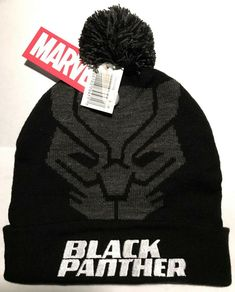 9f1ca708c3e BLACK PANTHER POM BEANIE Black White Marvel Comics Winter Knit ski Hat Men Women   Marvel  Beanie