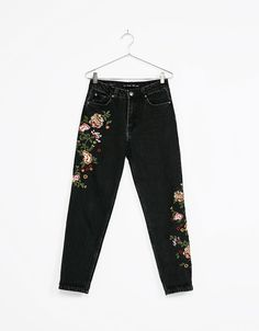 High waist embroidered jeans - Embroidery - Bershka Ukraine