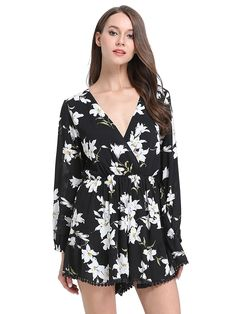 MsBasic Women's Long Sleeves Floral Print Romper Playsuit Jumpsuit ** More info could be found at the image url.