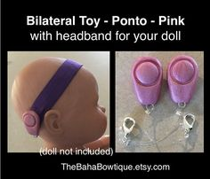 * 2 TOY Oticon Ponto Hearing Aids with 1 softband for your child's doll.  TheBahaBowtique.Etsy.com