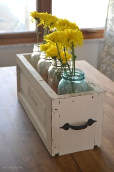 DIY Mason Jar Caddy - made out of upcycled cabinet doors.  From mycreativedays.com
