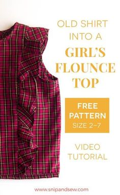 Video tutorial: Refashioning a men's shirt into a ruffle top. Kids Patterns, Sewing Patterns Free, Clothing Patterns, Free Pattern, Diy Clothes Tutorial, Diy Clothes Refashion, Upcycle Shirts, Diy Summer Clothes, Diy Clothes Videos