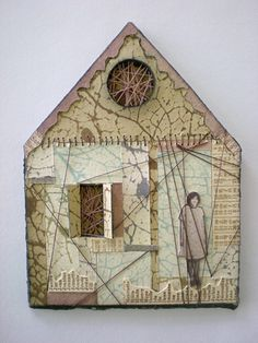 house, mixed media printmaking, found photograph