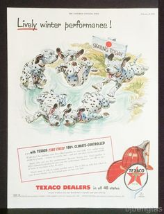 1955 Texaco Dalmation Dog Puppy Ice Skating Lively Winter Keith Ward Art Ad • EUR 9,52 - PicClick IE