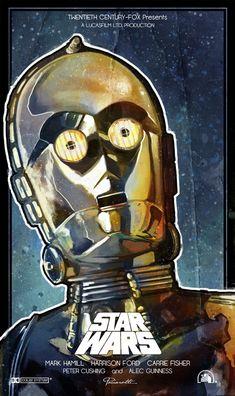"C3PO Star Wars Poster Star Wars ""A New Hope"" Inspired Poster. C3PO (Anthony Daniels). by Leonardo Paciarotti http://le0arts.deviantart.com/art/C3po-Starwars-Inspired-Poster-387155943"
