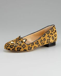 Charlotte Olympia Cat-Face Leopard Skimmer