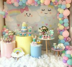 Baby Girl Birthday Theme, Unicorn Birthday Parties, Unicorn Party, Birthday Party Decorations, Lol Doll Cake, Cloud Party, Bolo Minnie, Baby Shower Centerpieces, Party Cakes