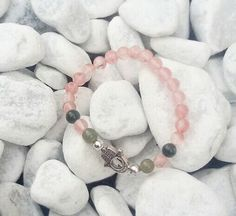 Cherry quartz with fatime hand