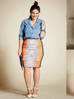 "Chambray Shirt, Printed Scuba Pencil Skirt  #thick   #curvy    ""if you like my curvy girl's fall/winter closet, make sure to check out my curvy girl's spring/summer closet.""   http://pinterest.com/blessedmommyd/curvy-girls-springsummer-closet/pins/"