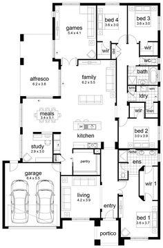 Dream house plans: Floor Plan Friday: 4 bedroom family home 2020 Dream House Plans, House Floor Plans, My Dream Home, Dream Houses, Kitchen Floor Plans, The Plan, How To Plan, Bedroom Layouts, House Layouts