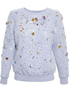 Shop Ashish Sequinned Sweatshirt with Jewel Embellishment in Browns from the world's best independent boutiques at farfetch.com.