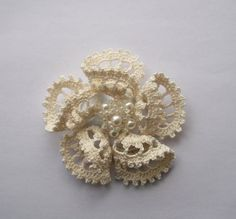 cream crochet brooch cream handmade crochet brooch by SuzieSue1972, £7.50