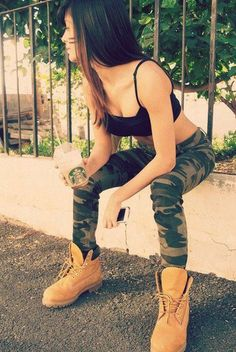 outfit -timberland boots with camo pants women Dope Fashion, Fashion Killa, Urban Fashion, Girl Fashion, Fashion Outfits, Dope Outfits, Swag Outfits, Trendy Outfits, Summer Outfits