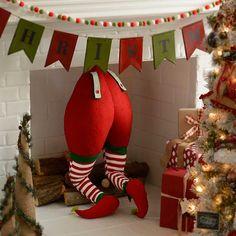 Red Striped Elf Bottom | Kirklands Christmas Room, Christmas Mantels, Green Christmas, Christmas Design, Christmas Elf, Simple Christmas, Christmas Stockings, Christmas Crafts, Easy Christmas Decorations